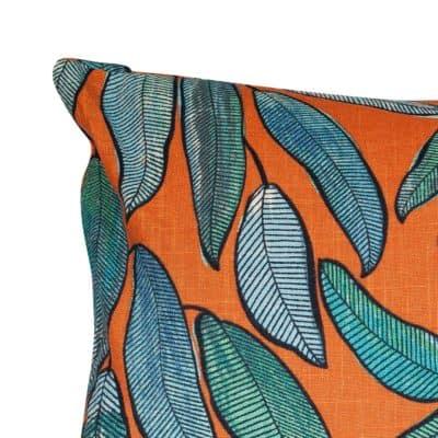 Linen Leaves XL Rectangular Cushion in Petrol Blue and Tango