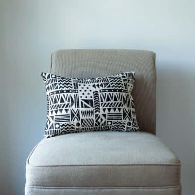 Monochrome Navajo Print Boudoir Cushion