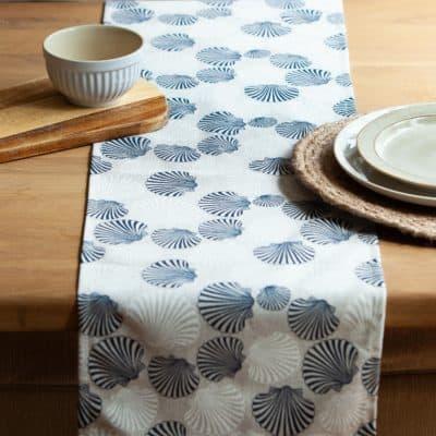Linen Sea Shells Table Runner in Blue