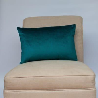 Bella Plain Velvet Boudoir Cushion in Teal Blue