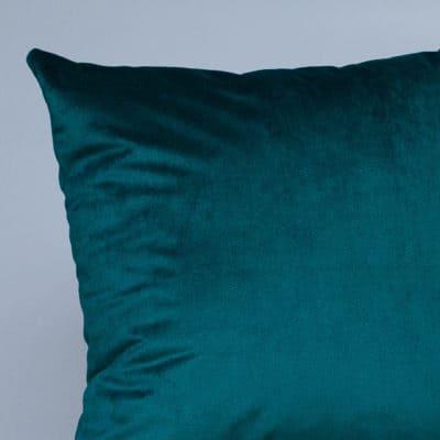 Bella Plain Velvet Cushion in Teal Blue
