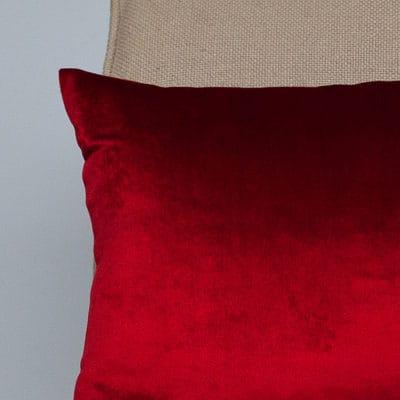 Bella Plain Velvet Boudoir Cushion in Red