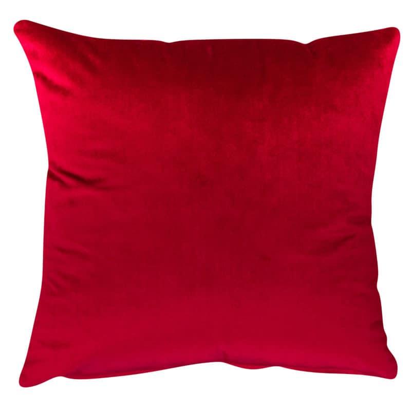 Bella Plain Velvet Cushion in Red