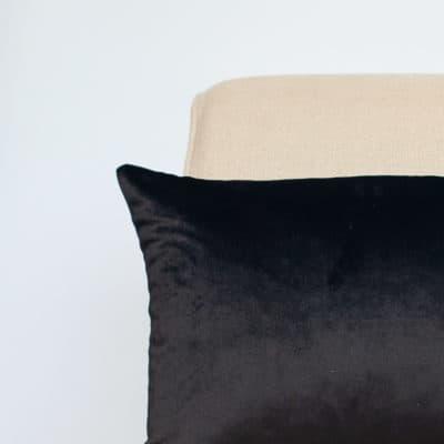 Bella Plain Velvet Boudoir Cushion in Black