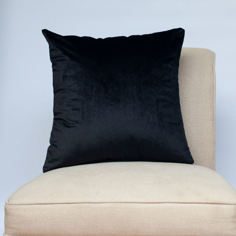 Bella Plain Velvet Cushion in Black