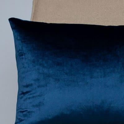 Bella Plain Velvet Boudoir Cushion in Navy Blue