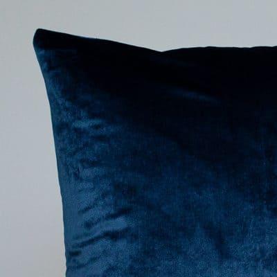 Bella Plain Velvet Cushion in Navy Blue