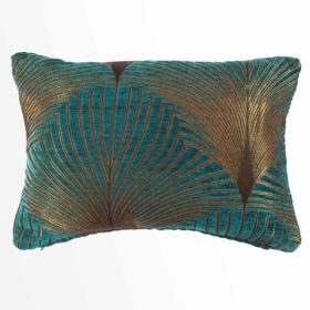Art Deco Fan Cushion in Teal and Gold