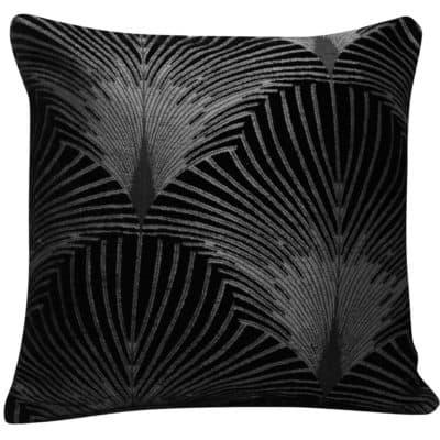Art Deco Fan Cushion in Black