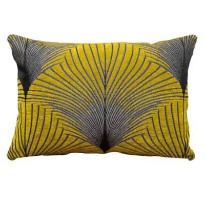 Art Deco Fan Cushion Ochre Silver Boudoir