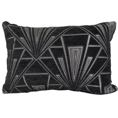 Art Deco Geometric Boudoir Cushion in Black and Silver