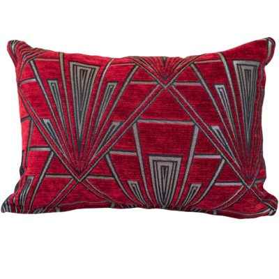 Art Deco Geometric Boudoir Cushion in Red and Silver