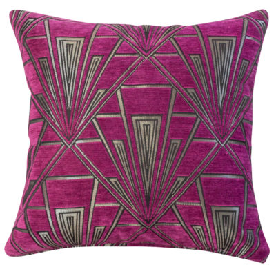 Art Deco Geometric Velvet Chenille Cushion in Pink and Silver