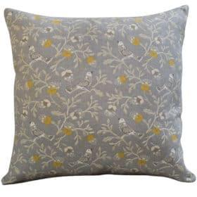 Dainty Songbird Cushion in Grey and Ochre