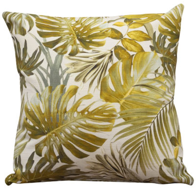Exotic Leaves Cushion in Green Yellow