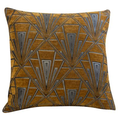 Extra Large Art Deco Geometric Cushion in Gold and Silver