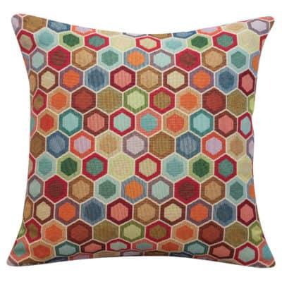 Multicoloured Honeycomb Tapestry Cushion