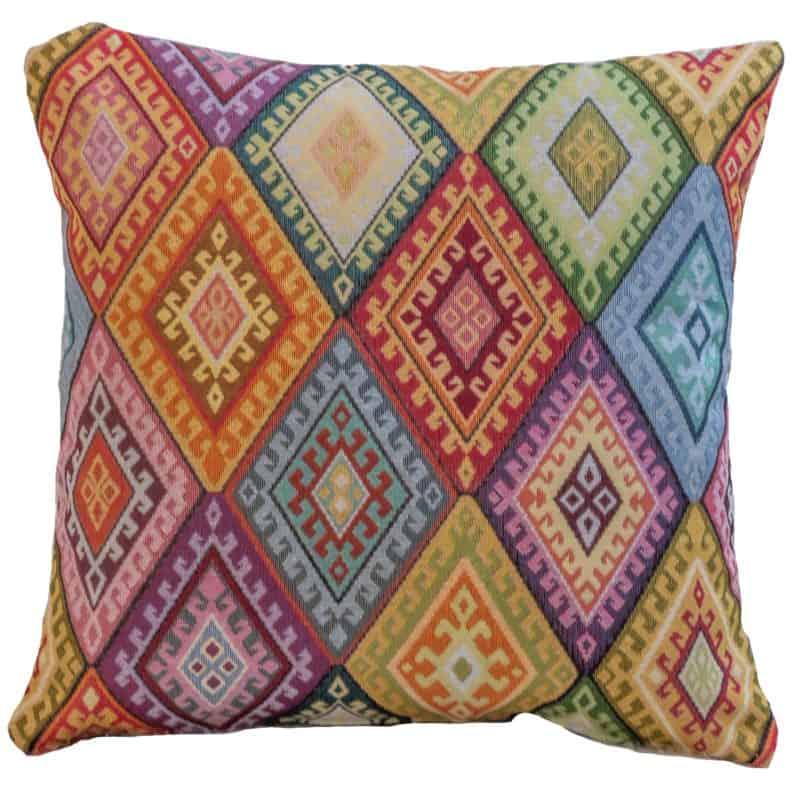 Kilim Weave Cushion in Rainbow