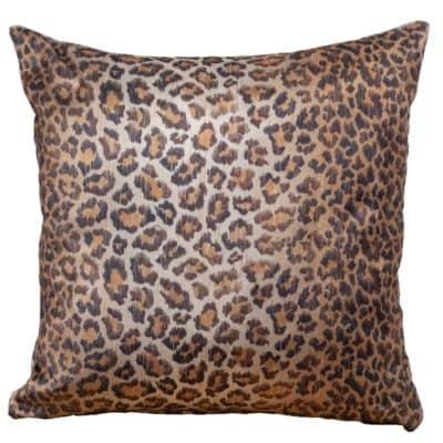 Leopard Print Velvet Cushion in Bronze