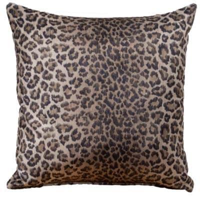 Velvet Leopard Print Cushion in Brown