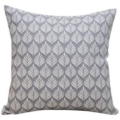 Minimalist Scandi Leaf Cushion in Dove Grey