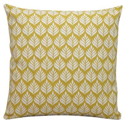 Minimalist Scandi Leaf Cushion in Yellow