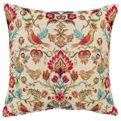Morris Style Bird Garden Tapestry Cushion