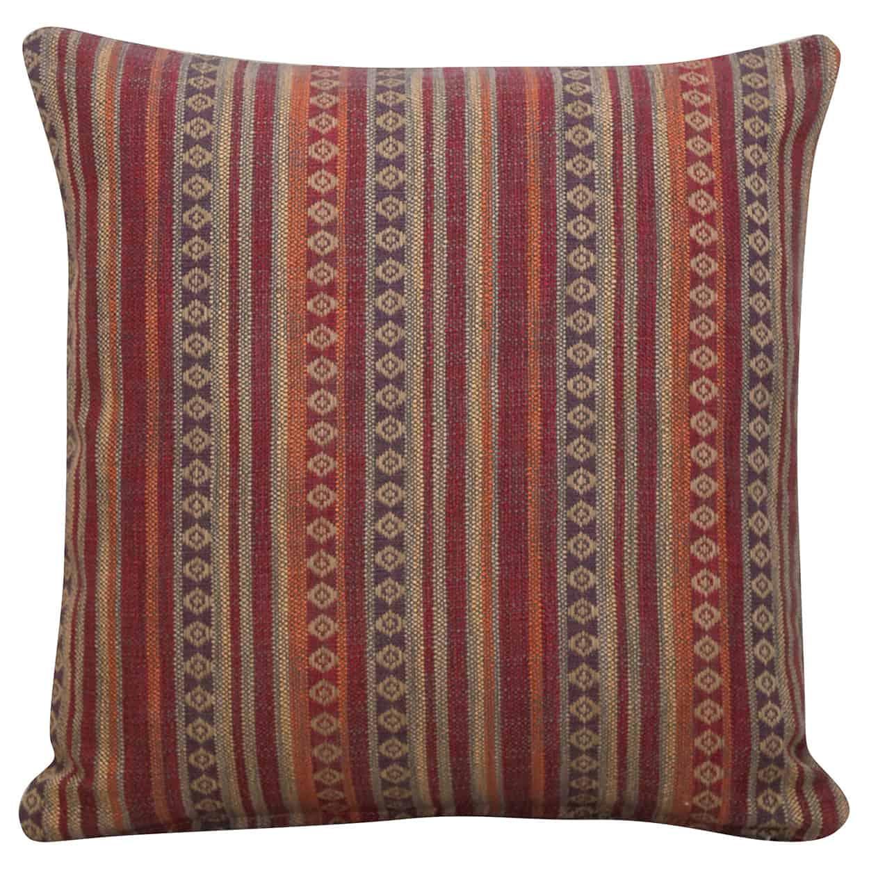 Navajo Blanket Weave Cushion in Burgundy