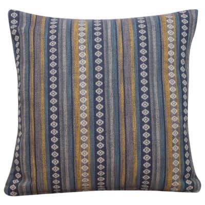 Navajo Blanket Weave Cushion in Indigo Blue