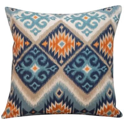 Navajo Kilim Cushion in Teal and Orange