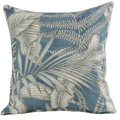Neon Floral Cushion in Denim Blue