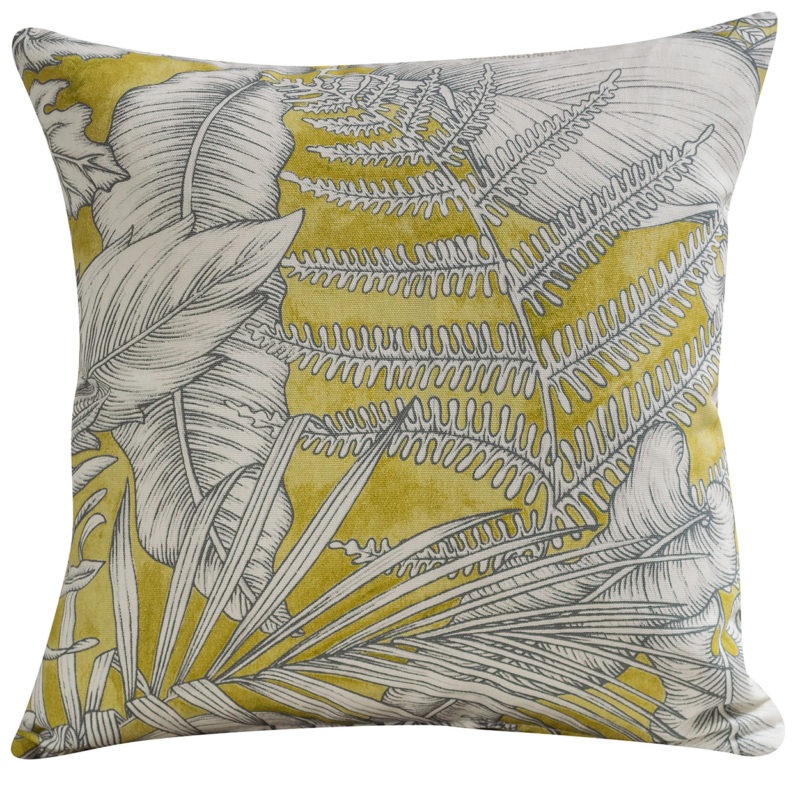 Neon Floral Cushion in Lime Green