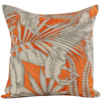 Neon Floral Cushion in Orange