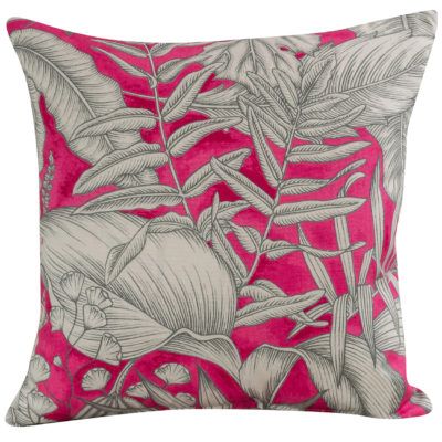 Neon Floral Cushion in Pink