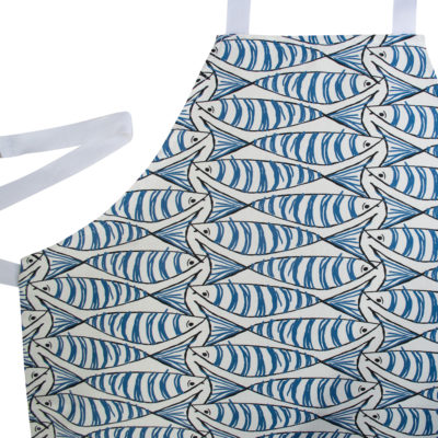 Sardine Apron in White and Blue