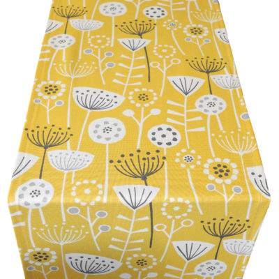 Scandi Floral Print Table Runner Yellow and Grey