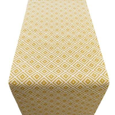 Scandi Ikat Table Runner Ochre Yellow