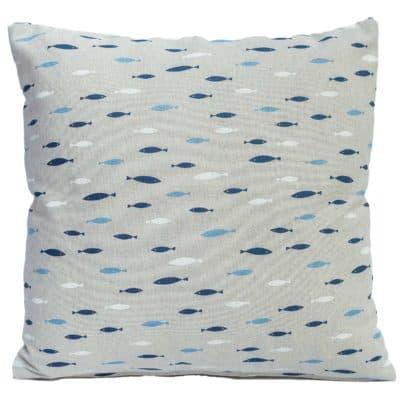 Tiny Blue Fish Linen Cushion