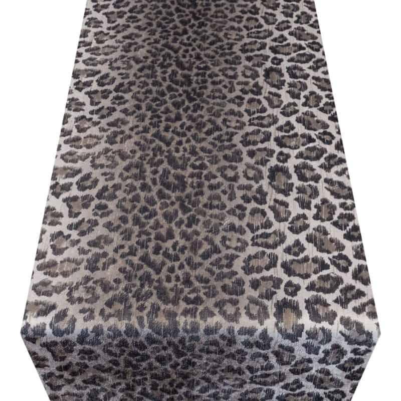 Velvet Leopard Print Brown Table Runner