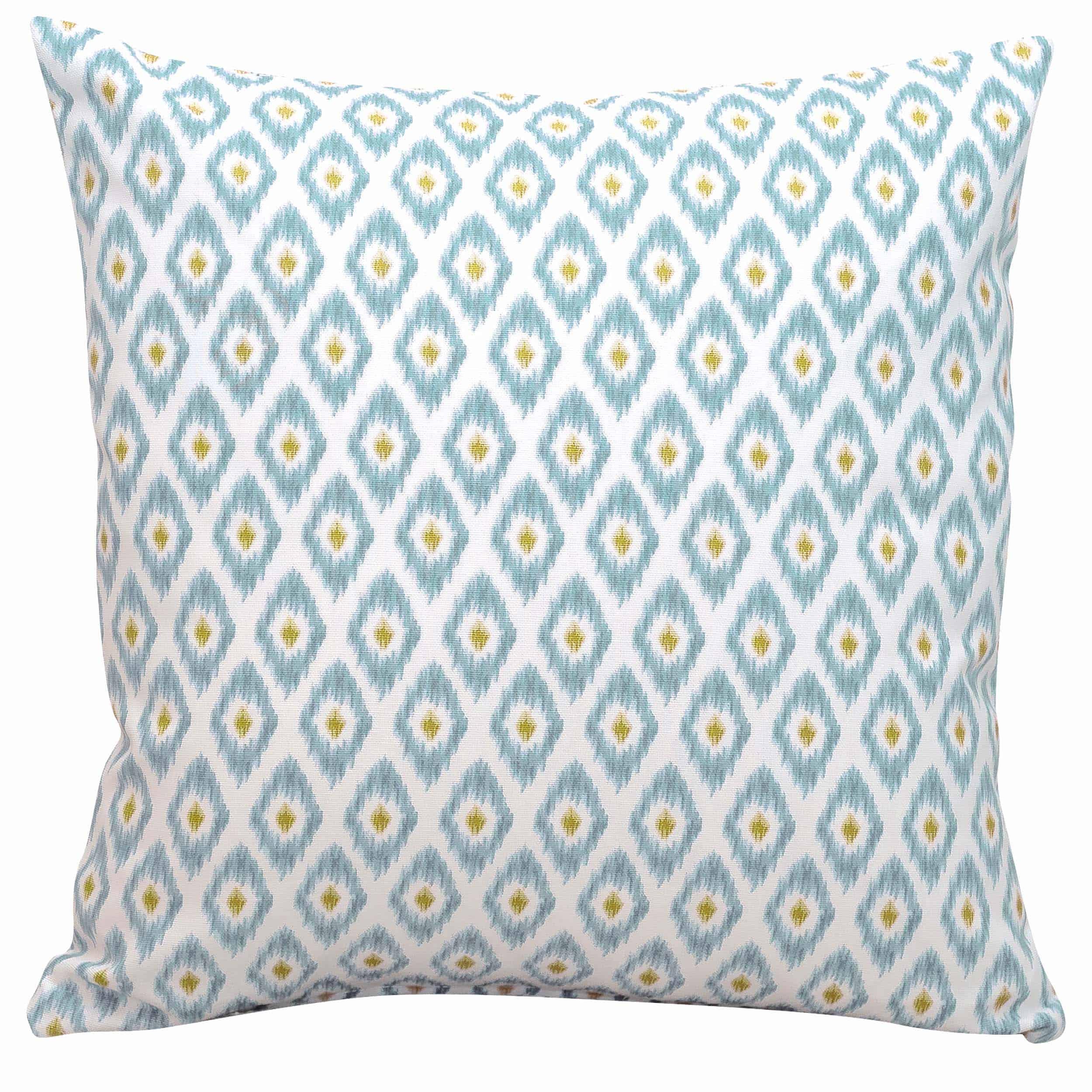 Watercolour Ikat Cushion in Duck Egg Blue